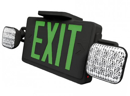 LED green double face black combo exit sign