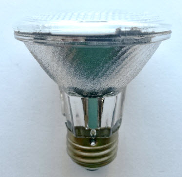 50 watt halogen PAR20 narrow spot light bulbs.