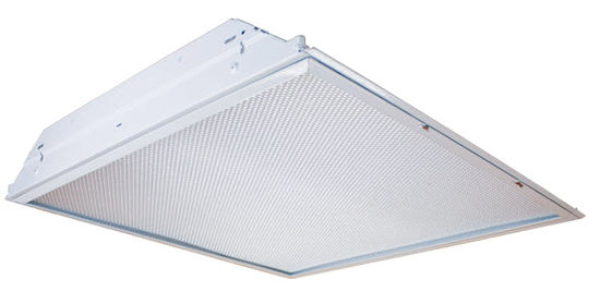 Lay-in T8 troffer 2X2 grid troffer light for wide light coverage in office lighting.