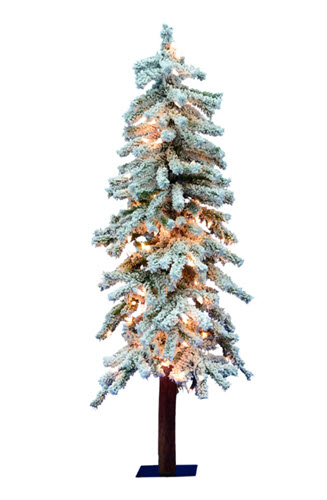 3' Flocked Alpine Lighted Artifical Christmas Tree - 50 Clear Light Count