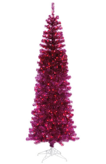 6.5' Fuchsia Artificial Christmas Tree - 300 Purple LED Lights