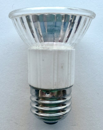 JDR 50 watt halogen light bulbs with a medium base.