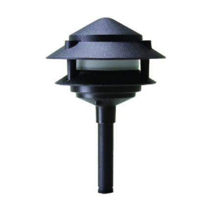 LED 2-Tier pagoda lighting fixture - black finish