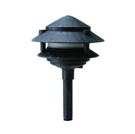 2-Tier pagoda LED lighting fixture - verde green finish