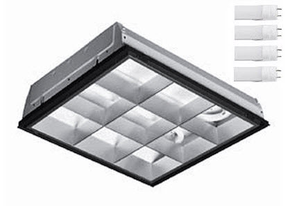 2X2 LED parabolic light fixture - 4-LED lamp - 60 watt - 5000K