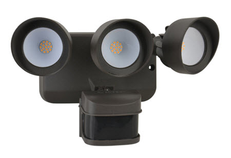 LED 3-Head Security Flood Light Fixture with Sensor - Bronze Finish