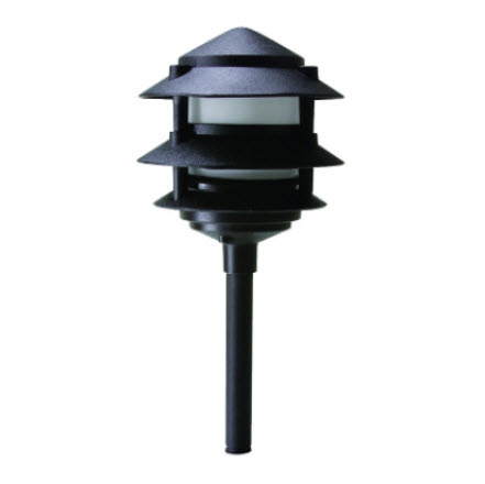 LED 3-Tier pagoda light fixture - black finish