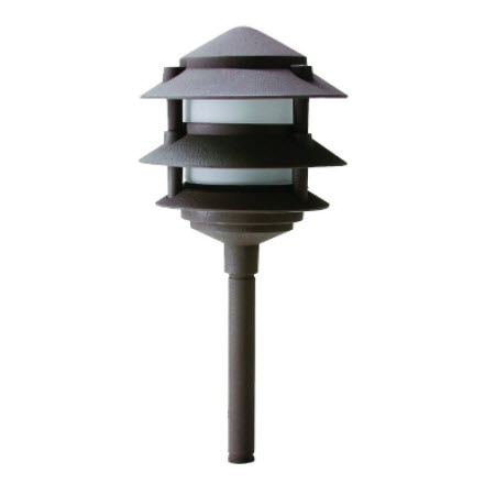 LED 3-Tier pagoda lighting fixture - bronze finish