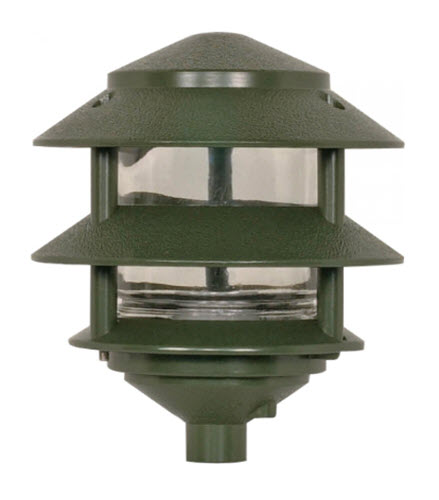 led 3 tier pagoda light fixture with ground mount stake verde