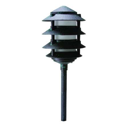 LED 4-Tier pagoda light fixture - verde green finish