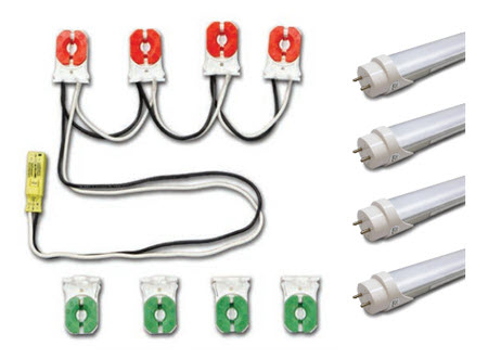 LED 4 lamp prewired socket retrofit lighting kit - lamps included