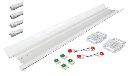 LED 8 foot 4 lamp retrofit lighting kit with reflector and LED lamps