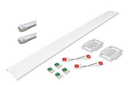 LED 8 foot 2 lamp retrofit lighting kit with channel covers and LED lamps