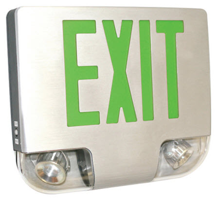 LED aluminum emergency exit sign with adjustable LED heads - green letters