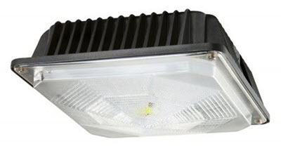 LED ceiling mount surface light fixture for energy savings and high light output.