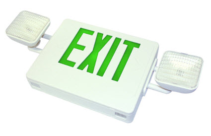 LED emergency exit sign - green letters