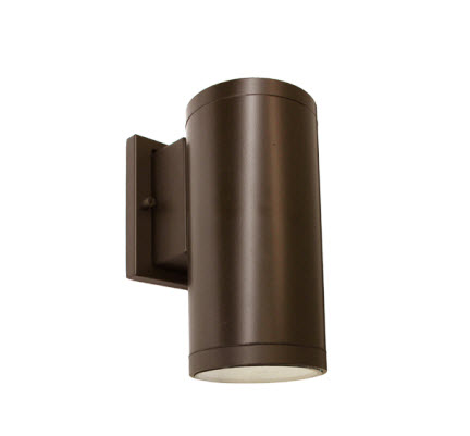 LED cylinder wall up/down light fixture in 15 watt - bronze finish