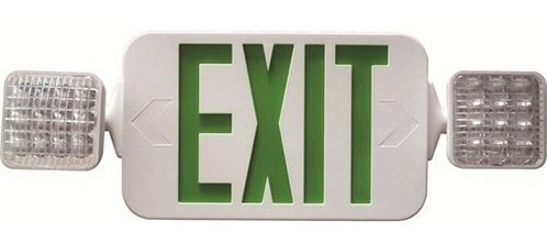LED green emergency exit with square heads.