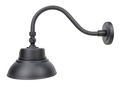 LED gooseneck light fixture - black finish - 25 watt - 3000K