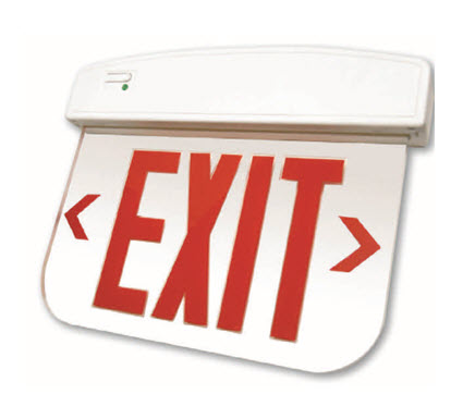 LED Plastic Edge Lit Exit signs - Red Letters