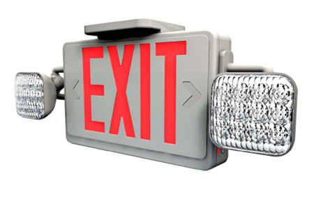 LED red letter aluminum combo exit sign