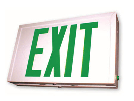 LED steel emergency exit signs - green letters