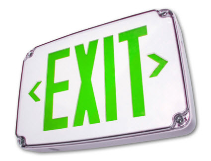 LED wet location exit sign - green letters