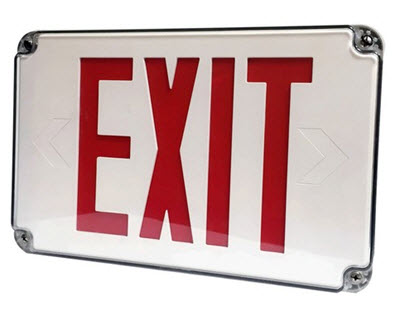 LED thin wet location exit sign