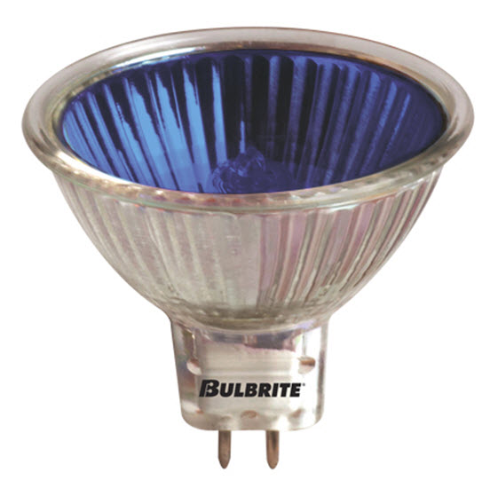 MR16 FMW blue halogen light bulbs with a 20 watt.