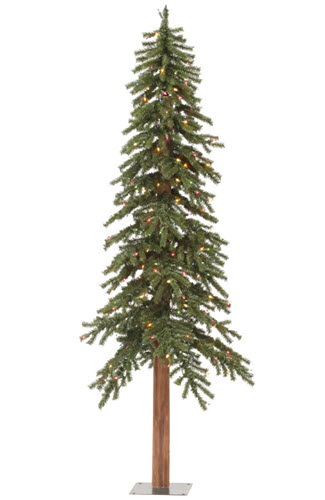 6' Natural Alpine Artifical Christmas tree - 250 Colored Light Count