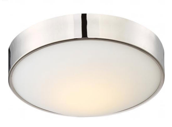 Nuvo LED Perk Round Flush Mount Light Fixture - Polished Nickel - 9 Inch