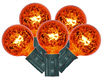 10 Light Orange Light String Light Fixture - 10 Foot - 5 Watt Light Bulbs