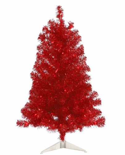 3' Red Artificial Christmas Tree - 50 Red LED Lights