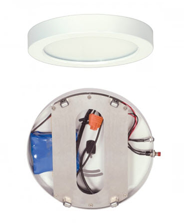 Satco LED 7 inch light fixture with emergency battery backup - white