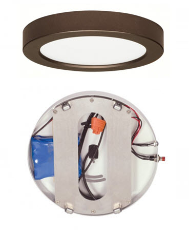 Satco LED 7 inch light fixture with emergency battery backup - bronze