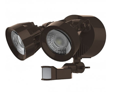 Satco LED Security Flood Light Fixture with Sensor - Bronze Finish