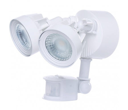 LED Flood Light Fixture with Sensor - White Finish - 4000K