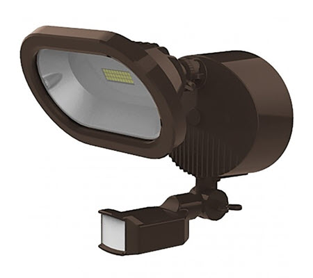 LED single head security flood lighting fixture in bronze with a motion sensor