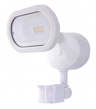 Led Single Head Security Flood Light Fixture In White With