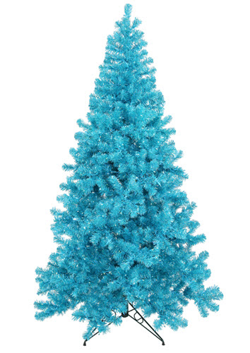 9' Sky Blue Artificial Christmas Tree - 700 Teal LED Lights