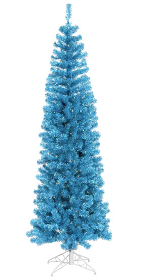 6.5' Sky Blue Pencil Christmas Tree - 300 Teal LED Lights