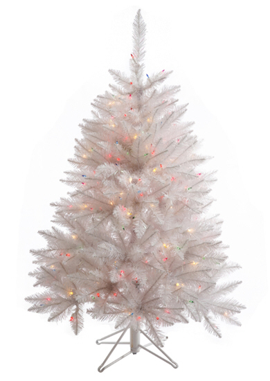 4.5' Sparkle White Spruce Artificial Christmas Tree - 250 Multicolor LED