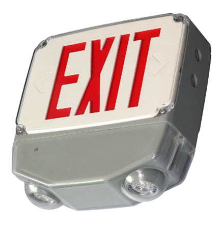 LED wet location combo exit sign - red letter